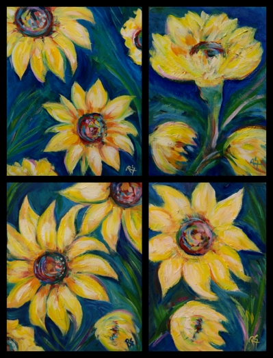 4SunflowerPaintings2015Collage